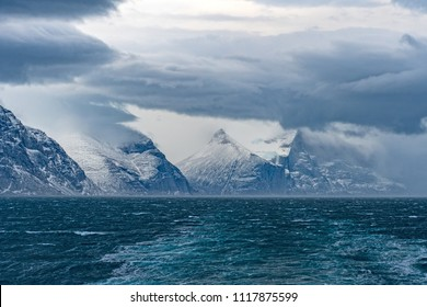 Storm Clouds above an Ocean Fjord in the Sam Ford Fjord in Baffin Island in Nunavut, Canada