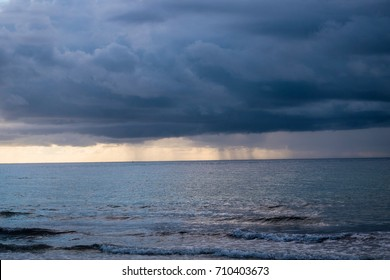 Storm clouds approaching beach