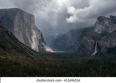 Storm clouds building over Yosemite Valley, viewed from Tunnel View.