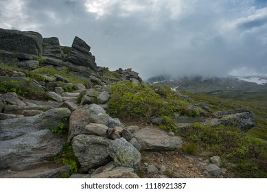 Storm Clouds covering up trail to mountain