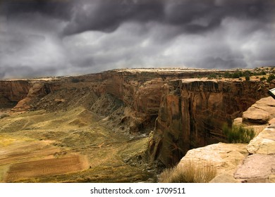 Storm clouds gather over Canyon de Chelly, land sacred to the modern Navajo Nation, just as it was to the ancient Anasazi.