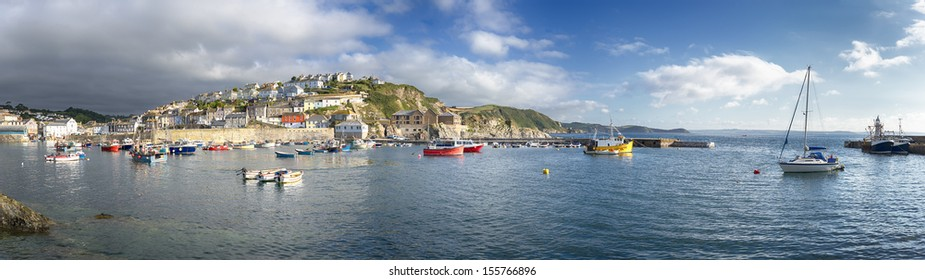 Storm clouds gather over Mevagissey an historic fishing port in Cornwall