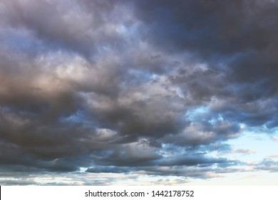 Storm clouds on the sky before the rain. Dark cloudscape, overcast day, beautiful dramatic background for stormy weather