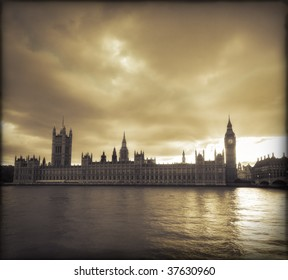 Storm clouds over Big Ben and the Houses of Parliament in London