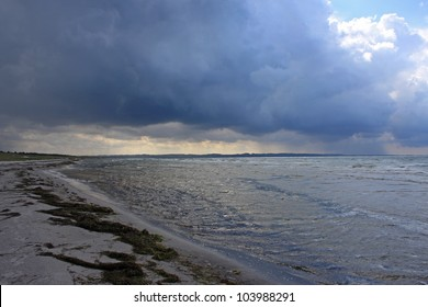 storm clouds over Danish beach