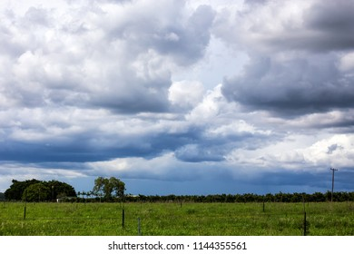 Storm clouds over farm near Petford on the Atherton Tablelands in Queensland, Australia