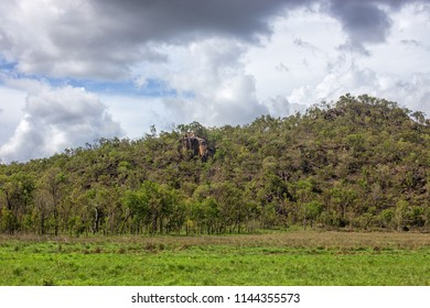 Storm clouds over hill near Petford on the Atherton Tablelands in Queensland, Australia