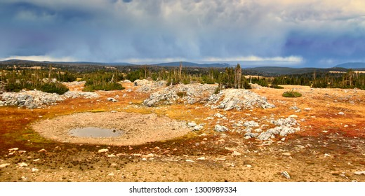 Storm clouds over Libby Flats near Snowy Range Pass in the Medicine Bow National Forest of Wyoming