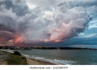 Storm Clouds Over a Nessebar Black Sea  Beach at Sunset