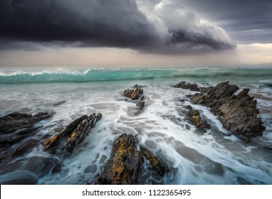 Storm Clouds over ocean water