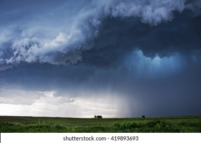 Storm Clouds over planted fields in Vojvodina, Serbia, copyspace included