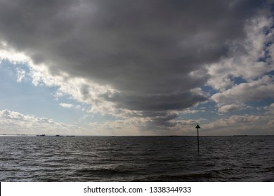 Storm clouds over Southend Pier, Southend-on-Sea, Essex, England
