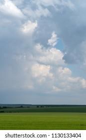 Storm clouds overcast countryside, Podolia region of Ukraine