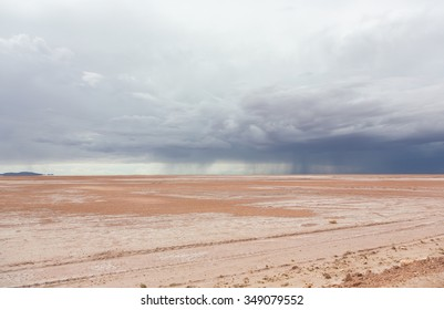 Storm clouds and rain in the desert