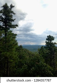 Storm clouds and rain in the distance through the trees at the Mogollon Rim outside of Payson Arizona