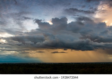 Storm clouds with the rain. Nature Environment Dark huge cloud sky black stormy cloud