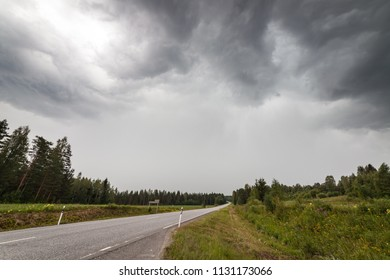 Storm clouds and rain at summer day in Finland