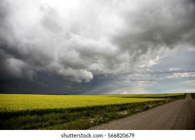 Storm Clouds Saskatchewan Prairie scene Canada Farm