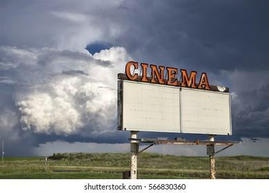 Storm Clouds Saskatchewan Prairie Vintage Drive In Sign