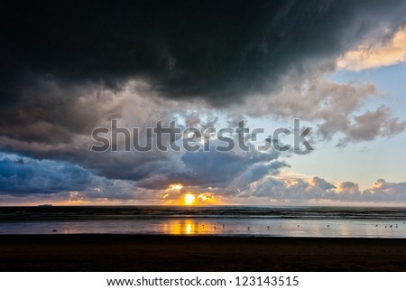 Storm clouds and Sunset at Silver Strand State Beach in Coronado, California