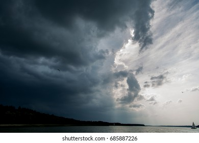 Storm and cloudy sky above Polish lake district