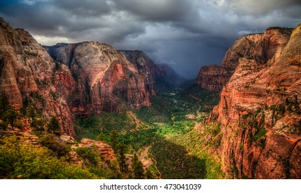 Storm Coming into Zion Canyon, Zion National Park, Utah