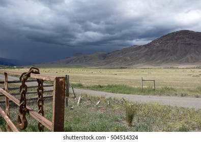 A storm is coming in the ranch land of Cache Creek, British Columbia, Canada