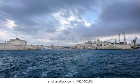 Storm feeling, ferry view, Grand Harbour, Valletta, Malta