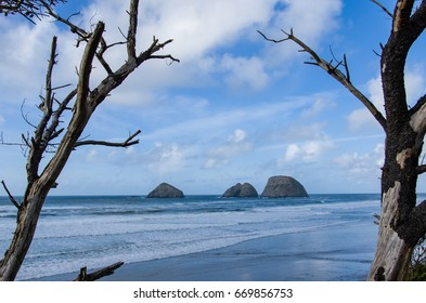 Storm, Finley and Shag Rocks in the Pacific Ocean near Oceanside Oregon