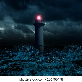 Storm and flooded lighthouse