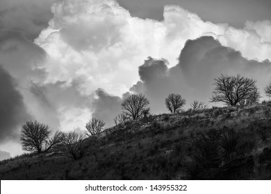 A storm forms over the Davis Mountains in Fort Davis State Park.