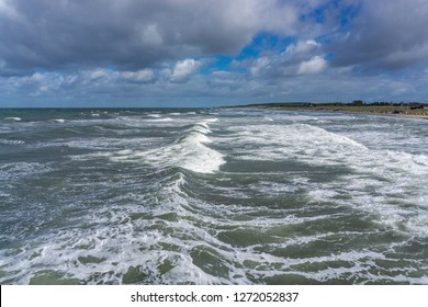 Storm at the German Baltic Sea with high waves