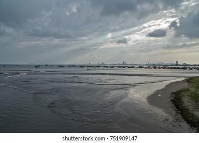 Storm, hurricane clouds on the horizon over water bay Nha Trang, Vietnam, Coast Tropical Natural Disaster