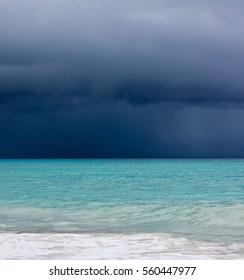 Storm and hurricane on the beach of Varadero Cuba