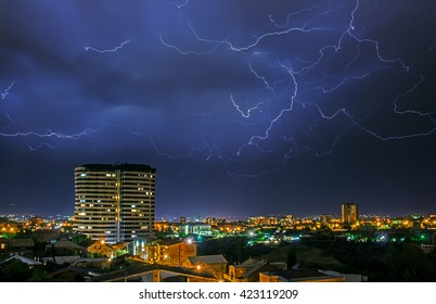 Lightening Storm City Images, Stock Photos & Vectors