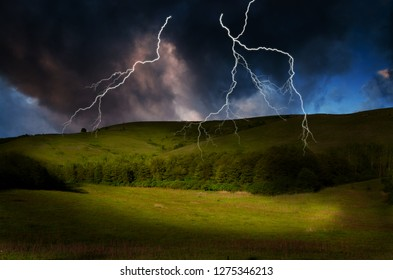storm with lightening over mountain