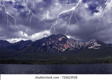 Storm lighting in the Canadian Rocky mountains. Pyramid Mountain. Jasper National Park. Alberta, Canada