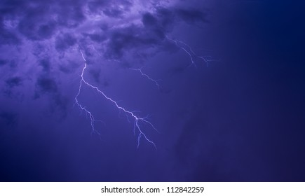 Storm with lightning in night  sky