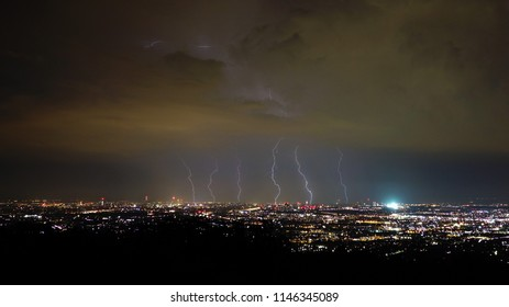 Storm and lightning in the night, Vienna City, Austria