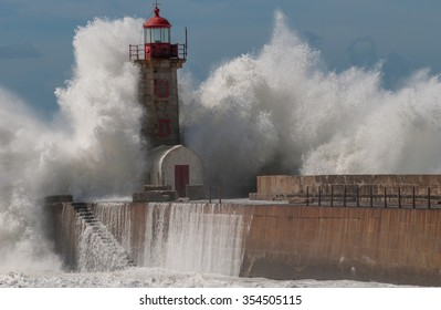 Storm near the lighthouse at the Porto. Portugal.