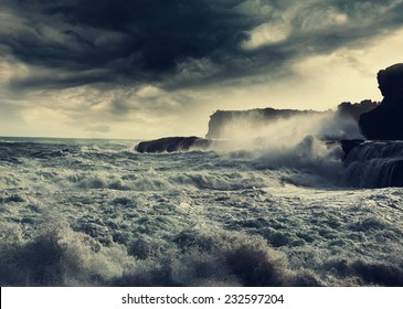 storm in  ocean beach,Indonesia