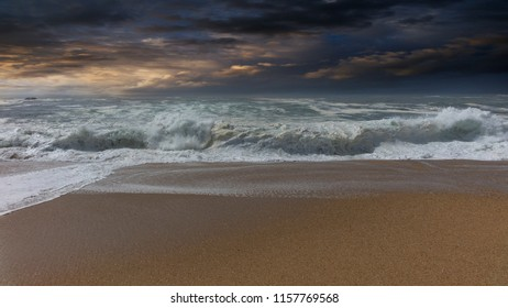 storm in the ocean of Portugal