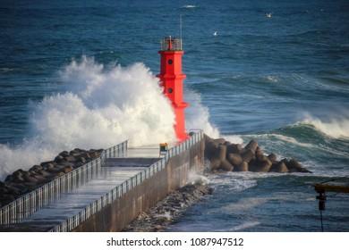 storm on the autumn sea