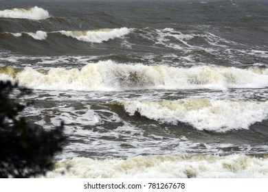 storm on the Baltic Sea, October 2017, Klaipeda, Lithuania