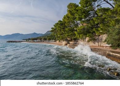 Storm on the beach in Baska Voda. Adriatic sea. August 2020 - Shutterstock ID 1855862764