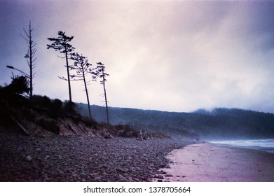 Storm on the Oregon Coast Film Photograph Purple and Blue