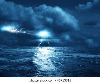 storm on sea