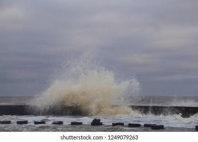 Storm on the sea. Huge waves