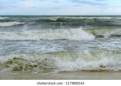 storm on the sea in summer, beautiful big waves, the Baltic sea