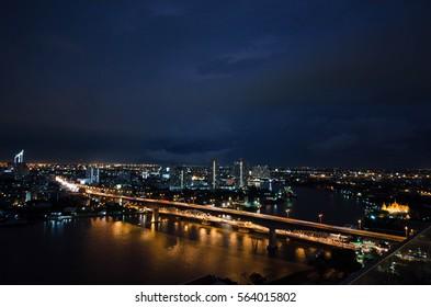 A storm over Bangkok, Thailand